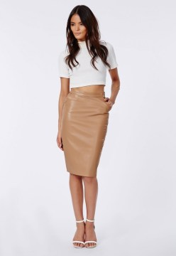 Mariota Faux Leather Camel Pencil Skirt