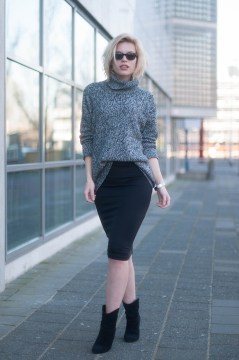 Pencil Skirt Bodycon Outfit - Turtleneck Jumper Roll Neck