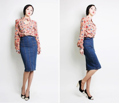 Pencil Skirt with Floral Blouse