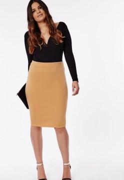 Plus Size Bodycon Camel Pencil Skirt