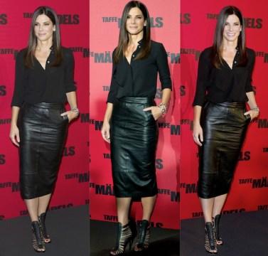 Sandra Bullock Black Dress Shirt and Pencil Skirt