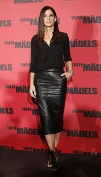 Sandra Bullock Black Leather Pencil Skirt and Black Topjpg