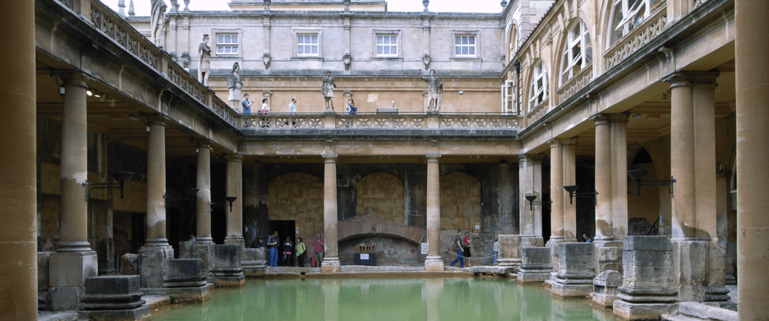 The Great Bath, Roman Baths, originally 1st-3rd century AD, with late 19th century superstructure by John McKean Brydon.