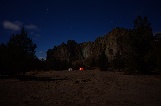 Cold night camping under the stars