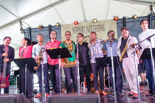 From left to right, John Patitucci, Patricia Zarate, Edmar Colón, Mao Soné, Danilo Pérez, Anthony Fung, Brandon Woody, Yoron Israel,  Marco Pignataro and Isaac Wilson.