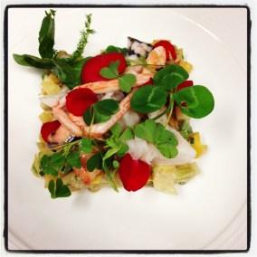 langouste rose de bretagne et macédoine de légumes