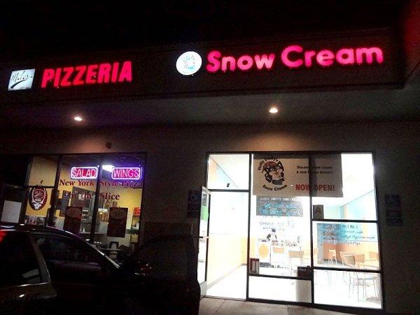 snow-cream-outside-milos-pizza