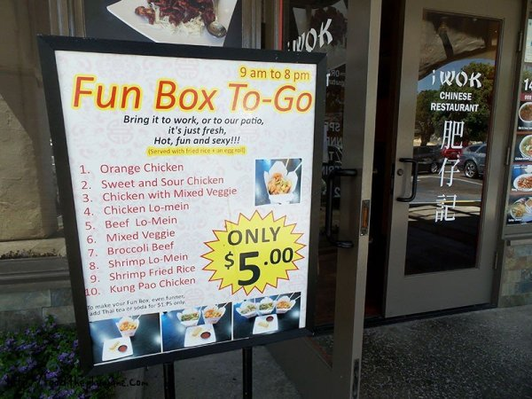 Fun Box sign at iWok