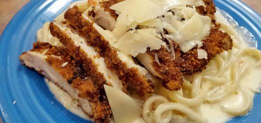 herb-crusted-chicken-over-alfredo-pasta