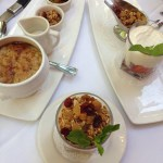 Oatmeal brulee, homemade Greek yogurt parfait
