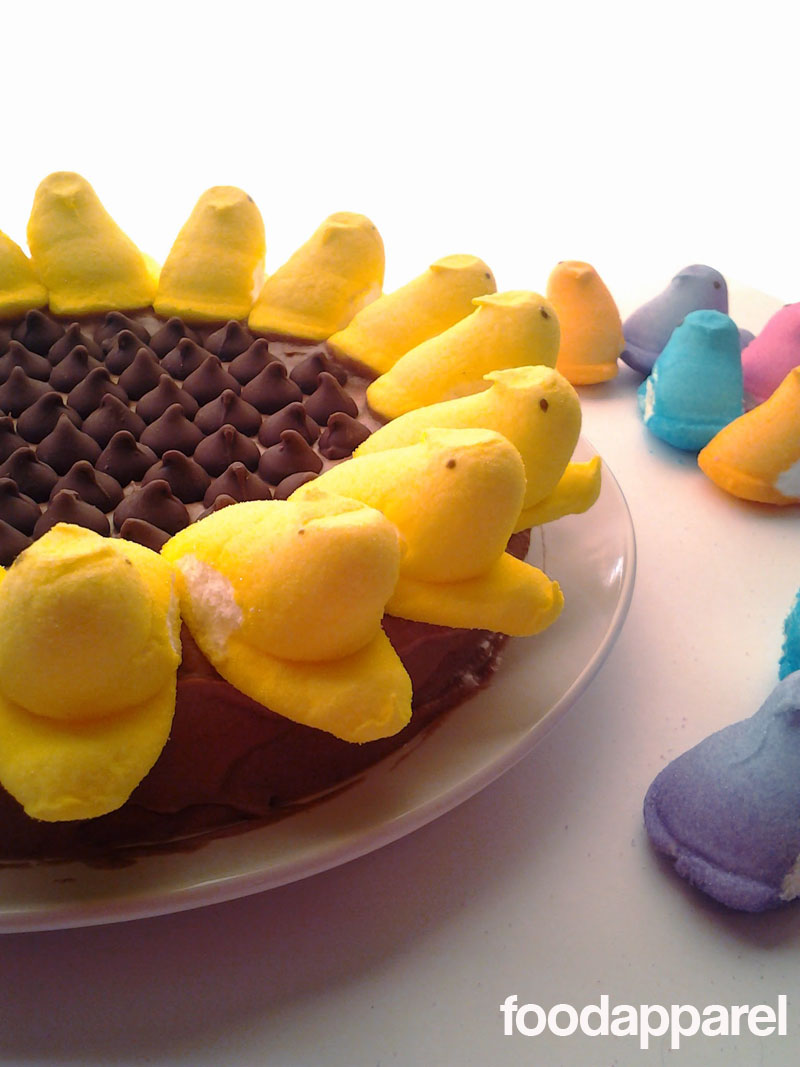 Malted Milk Chocolate Sunflower Peeps Cake with Malted Chocolate Frosting: Classic Style