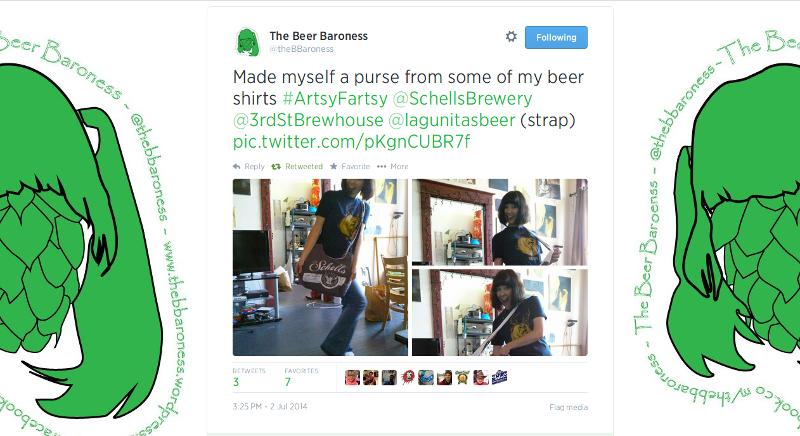 The Beer Baroness (thebeerbaroness.wordpress.com) shows off her new bag.