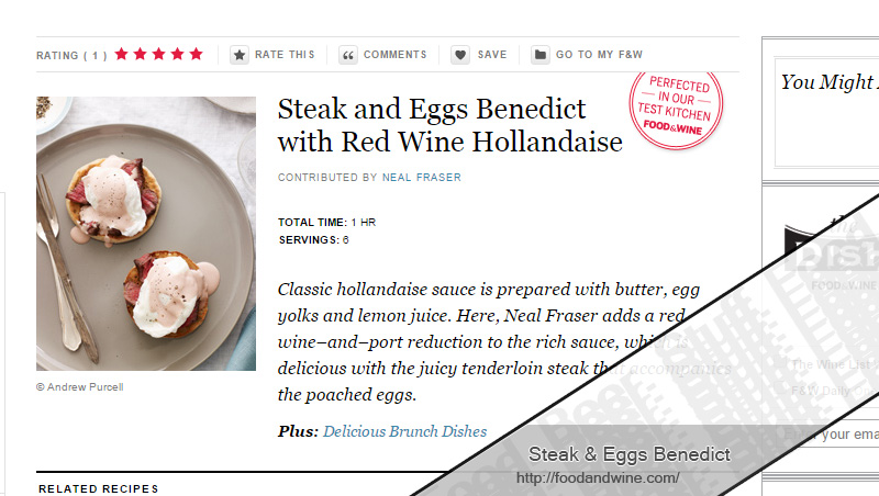 Steak and Eggs Benedict Recipe from Food & Wine.