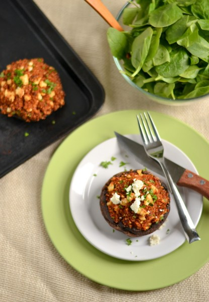 Roasted Red Pepper and Feta Quinoa Stuffed Portobellos Image