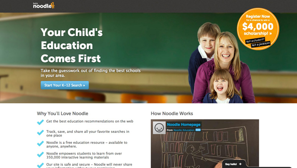 Noodle.com education tool for students