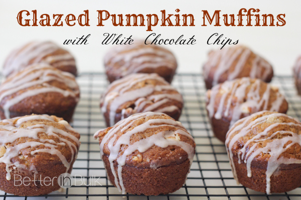Glazed Pumpkin Muffins with White Chocolate Chips