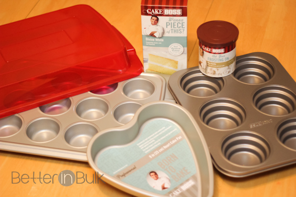 Included in the giveaway package are: 6-Cup Round Cakelette Pan, 12-Cup Covered Muffin Pan, 9-Inch Heart Cake Pan, and Cake Boss Cake Mix and frosting