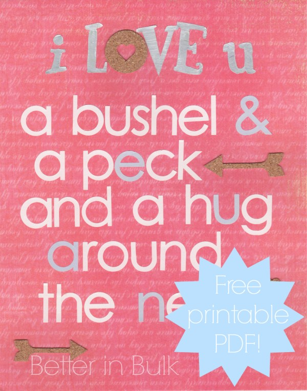 I love you a bushel and a peck printable