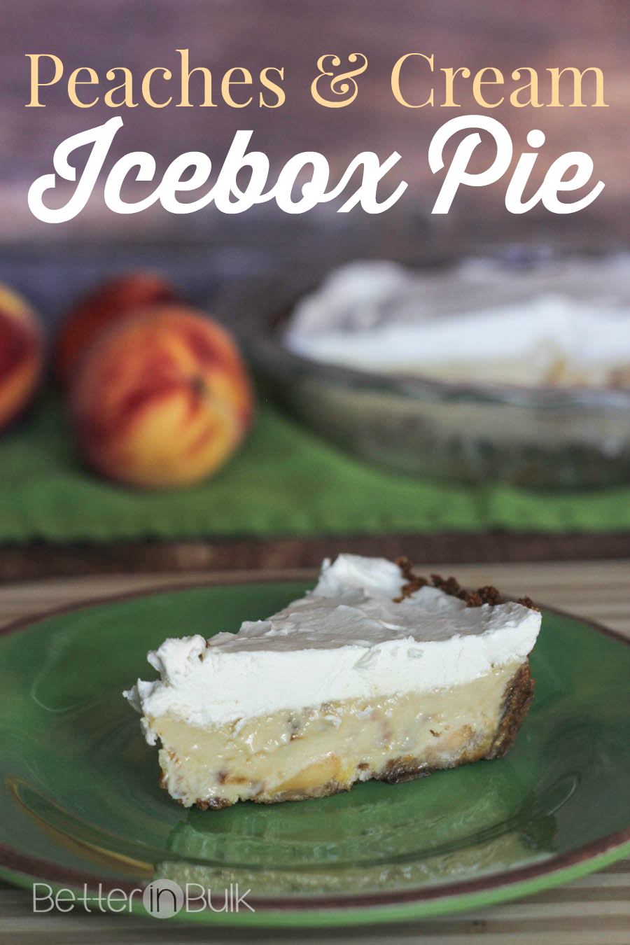 Peaches and Cream Icebox Pie with Gingersnap Crust