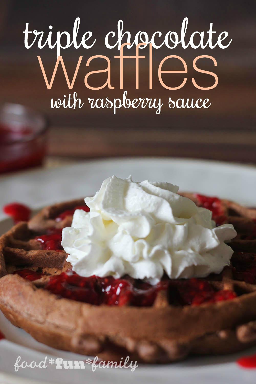 Triple-chocolate-waffles-with-raspberry-sauce-and-TruMoo-Hot-Chocolate ...