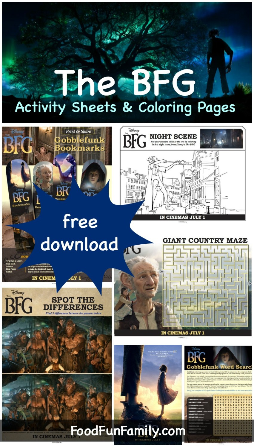 Disney's The BFG Activity sheets and Coloring pages - free printables for kids!