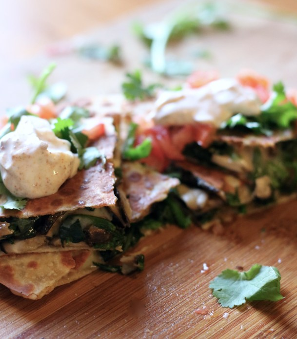Easy Spinach & Mushroom Cheesy Quesadillas