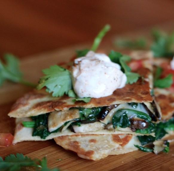 Easy Spinach & Mushroom Cheesy Quesadillas