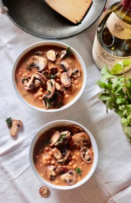 Lentil Soup with Sauteed Mushrooms (Vegan)