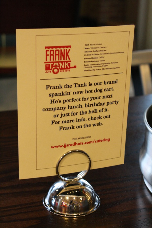 Frank the Tank -- JJ's Red Hots' Catering