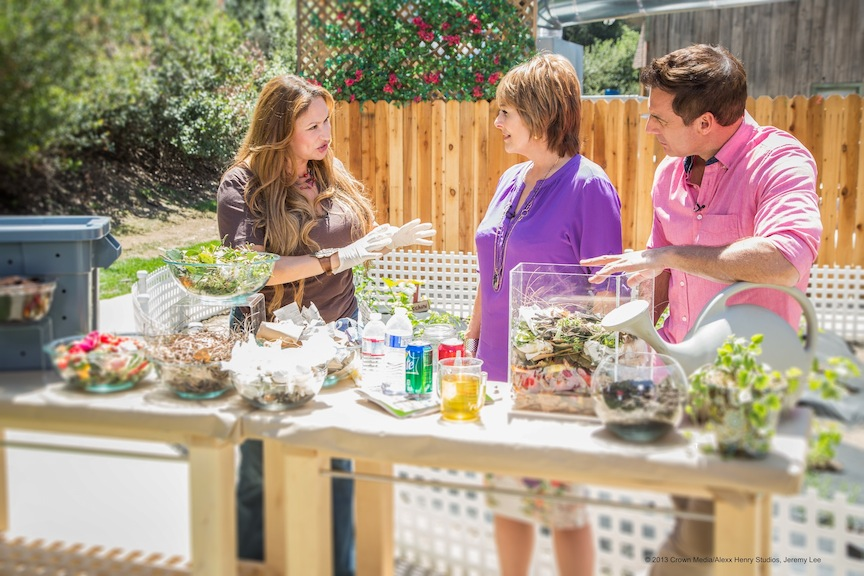 "Shirley, the ""Foodie Gardener"" explains basic composting to Cristina Ferrare and Mark Steines on the ""Home & Family"" show."