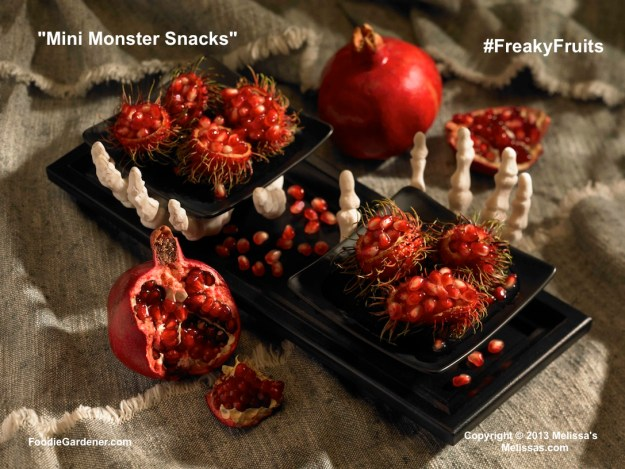 Little monster snacks are emptied rambutan shells filled with pomegranate seeds
