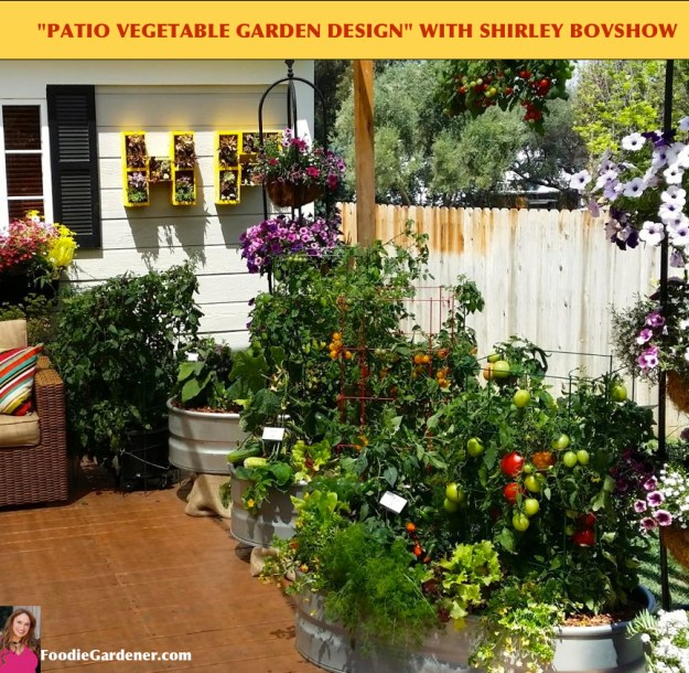 vegetable garden on deck using containers designed by shirley bovshow