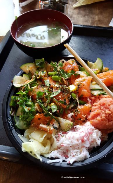 poke-tuna-cucumber-salad-ginger-miso-soup-foodie-gardener