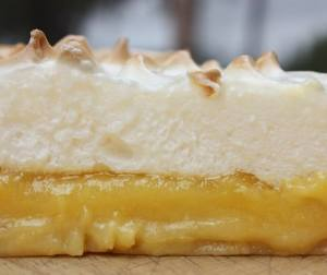 A luscious slice of lemon meringue pie.