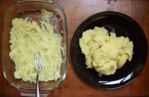 Mashing potatoes with a fork, until no lumps remain.