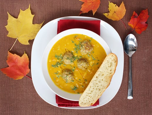 Curried Squash Soup with Lamb Meatballs
