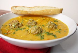 Curried Fall Squash Soup with Lamb Meatballs