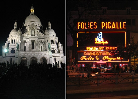 Montmartre's Sacré-Coeur Basilica and Folies Pigalle: Two of the neighborhood's main tourist attractions