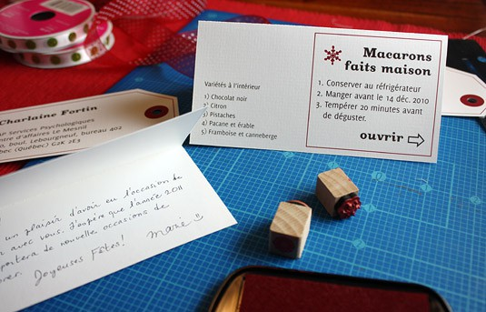 A folded card with instructions about how best to enjoy the macarons on the outside and my personalized handwritten wishes on the inside.