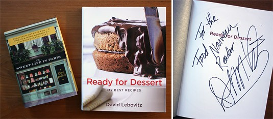 Two David Lebovitz books to giveaway: The Sweet Life in Paris and a signed copy of Ready for Dessert.