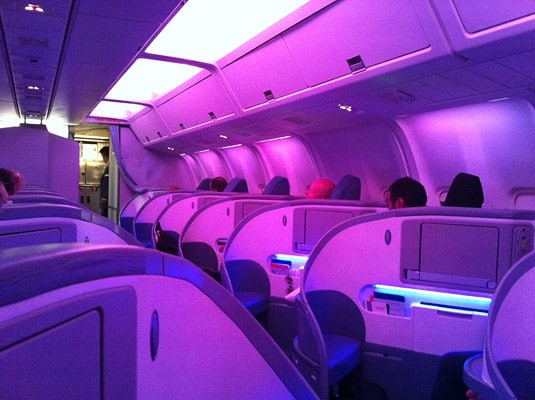 Air Canada's first class: the light changes to create different moods (and put you to sleep eventually).