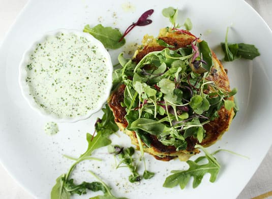 Yotam Ottolenghi's Leek Fritters (from Plenty, p. 36)