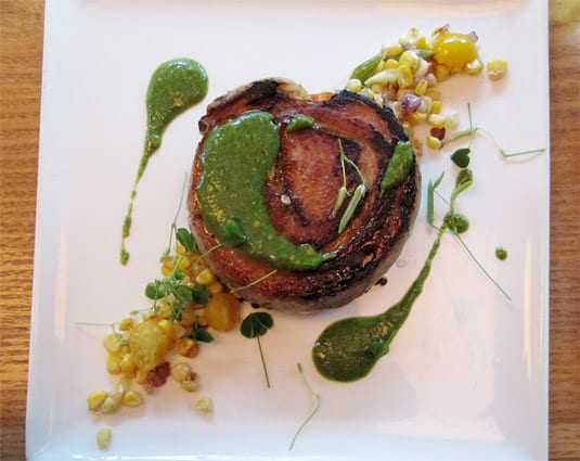 Roasted porchetta, salsa verde, toasted farro and succotash at La Laiterie, Providence.