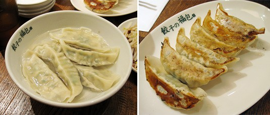 Boiled and pan-fried gyoza in Tokyo.