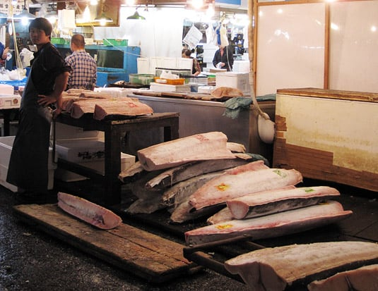 Frozen pieces of tuna, at Tokyo's Tsukiji Market