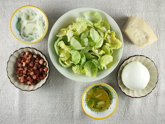 Ingredients to make Brussels Sprouts and Pancetta Pizza