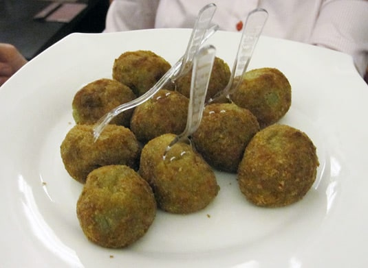 Another kind of arancini, much smaller and filled with spinach.