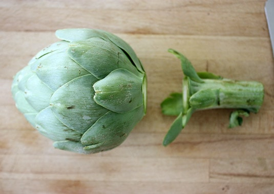 1. Cut the stem off the artichoke.