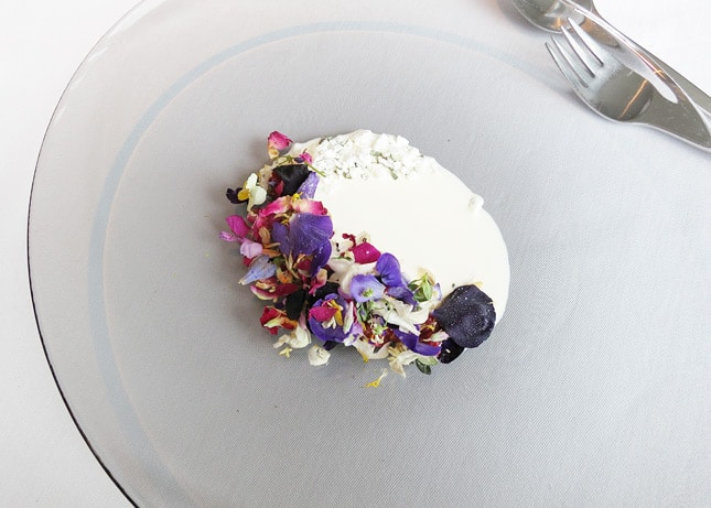 13th course: Frosty flowers, rhubarb and thyme, at Geranium Restaurant, Copenhagen / FoodNouveau.com