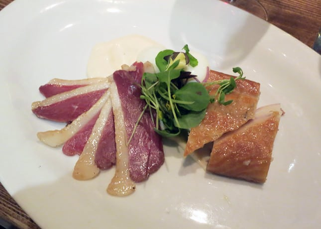 Good dish, two ways: Patente et Machin's smoked duck and eel with Riesling mayo and soft-boiled quail egg. / FoodNouveau.com